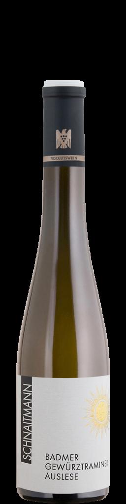 Eine Flasche Badmer Gewürztraminer Auslese, 2017, vom Weingut Schnaitmann