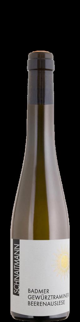 Eine Flasche Badmer Gewuerztraminer Beerenauslese, 2018, vom Weingut Schnaitmann